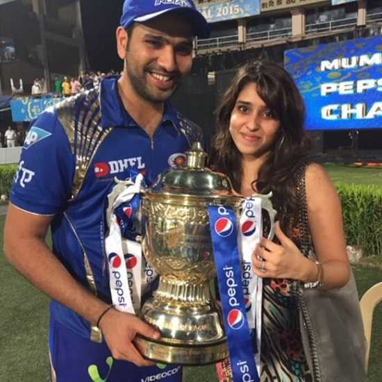 Rohit Sharma and His Wife With IPL Cup