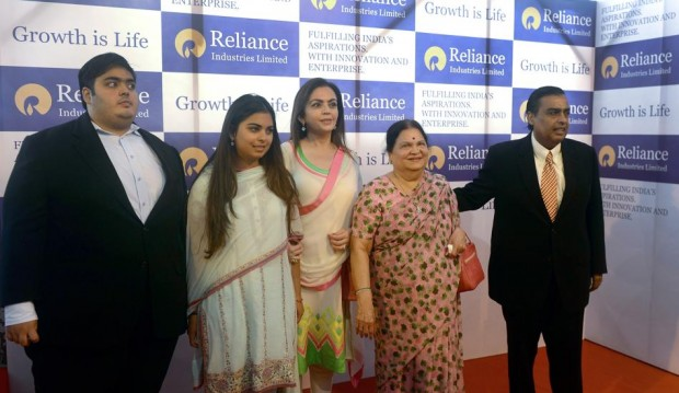 Mukesh Ambani with His Mother, Wife and Children