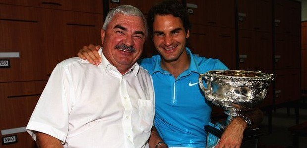 Federer with his dad Robert Federer