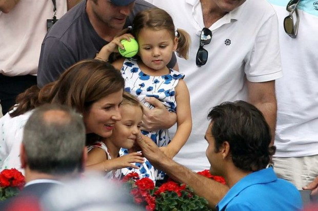 Federer with daughters Myla Rose and Charlene Riva