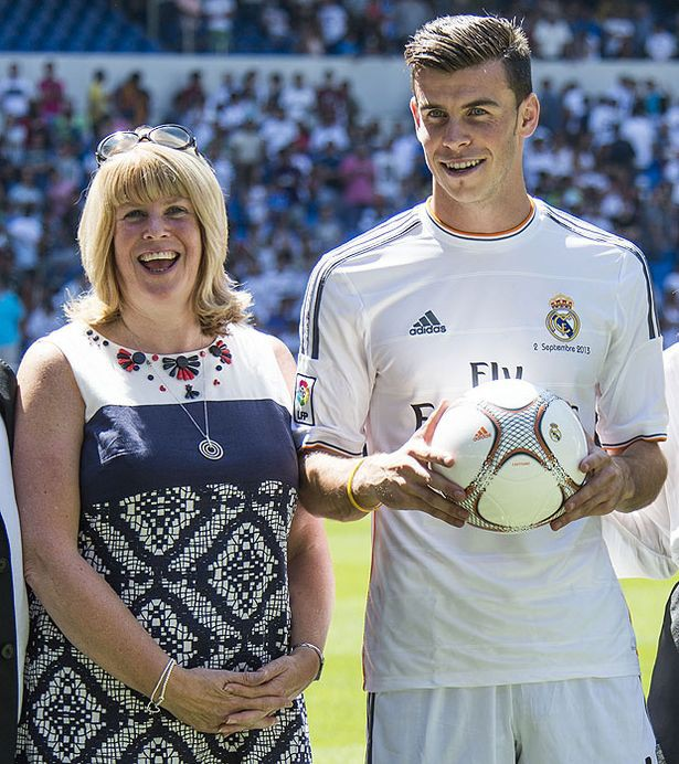 Gareth Bale with his mother Debbie Bale