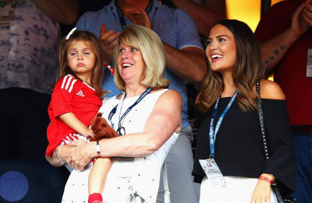 Gareth Bale's mother with his daughter and partner