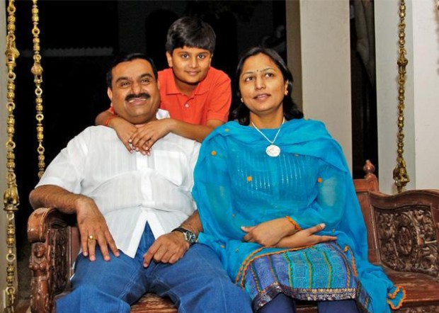Gautam and Priti Adani with their son