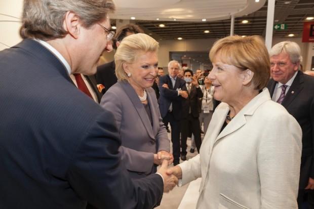Georg FW Schaeffler, Maria-Elisabeth Schaeffler Thumann, Angela Merkel and Volker Bouffier