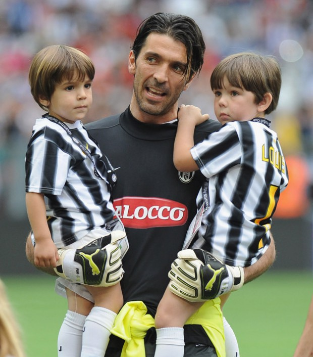 Gigi Buffon with his sons David Lee and Louis Thomas