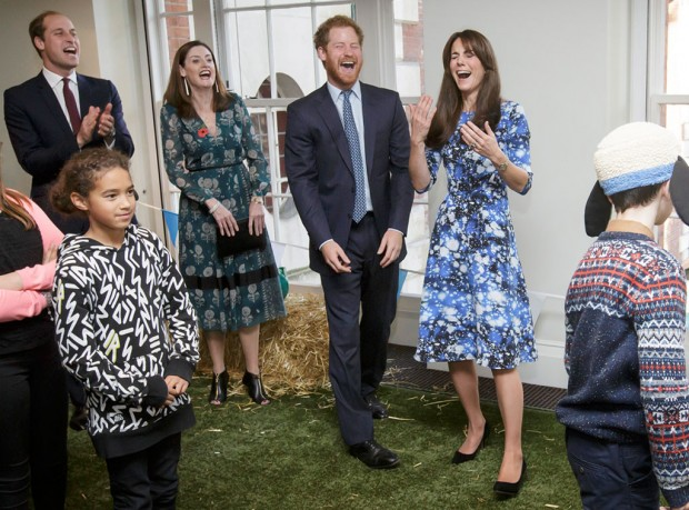Catherine Middleton with Prince Harry and Prince William