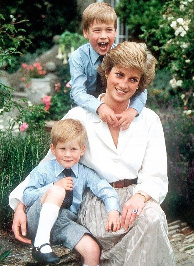 Harry and Williams With Princess Diana