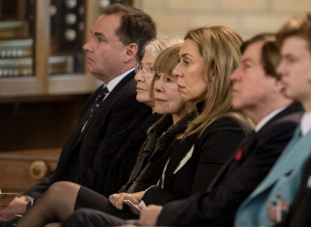 Jeanne Pratt and her daughter Heloise Waislitz at Lady Susan Renouf funeral