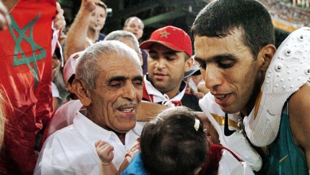 Hicham El Guerrouj with His Father El Ayachi and daughter Hiba at 2004 Olympics