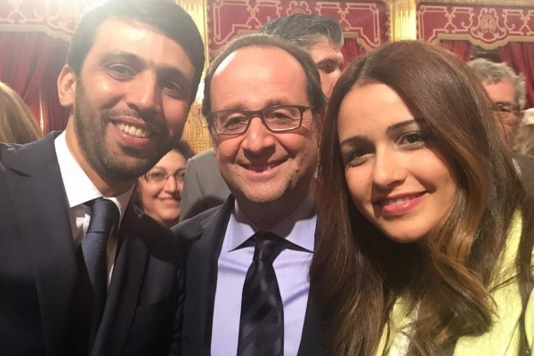 Hicham El Guerrouj with his wife and French President Francois Hollande