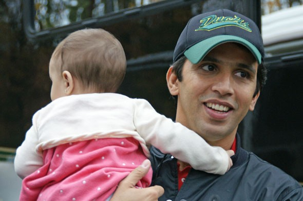 Hicham with his baby Hiba
