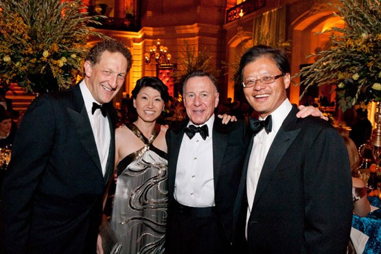 Jerry Yang and Akiko Yamazaki with Larry Baer and Carl Pascarella