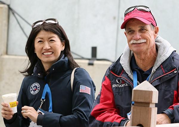 Akiko Yamazaki with equine physiotherapist Tom Meyers