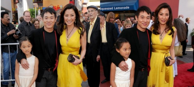 Jet Li with his daughter Jade and actress Michelle Yeoh at The Mummy 3 American Premiere