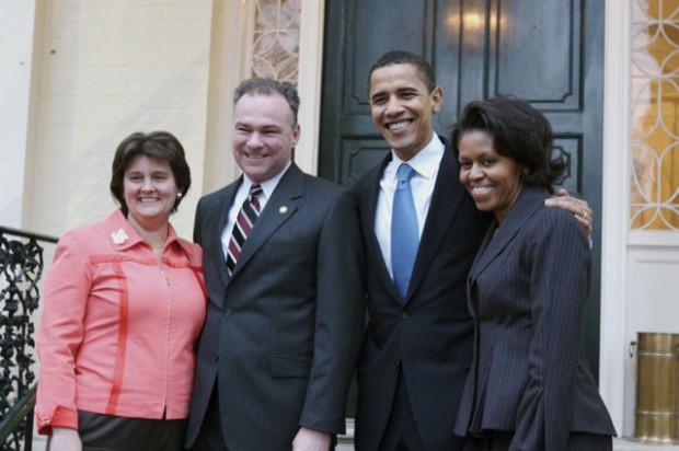 Tim Kaine and his wife with Barack Obama and Michelle Obama
