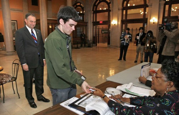 Tim's elder son Nat Kaine at voting