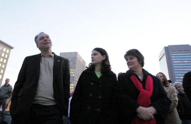 Tim Kaine with his wife and daughter