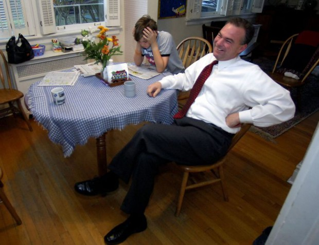 Tim Kaine and his son Woody