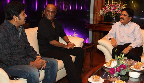 Kalanithi Maran with Legendary actor Mr. Rajnikanth and director Shankar