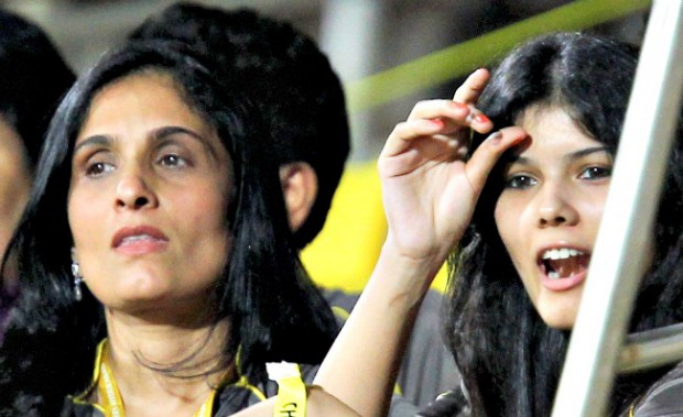 Kalanithi Maran wife Kaveri and daughter Kavya Maran during an IPL match