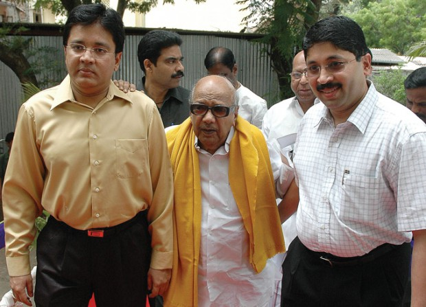 Kalanithi Maran and Dayanidhi Maran with M. Karunanidhi