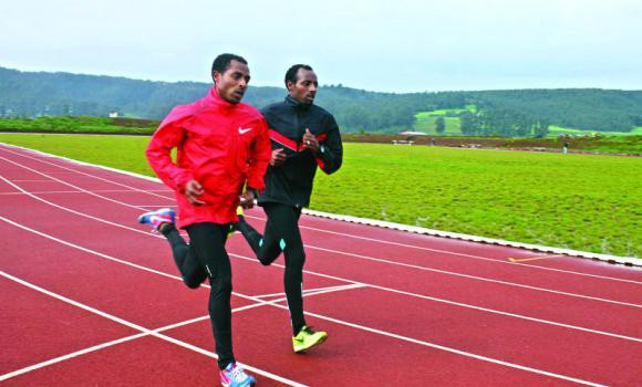 Kenenisa Bekele and his brother Tariku Bekele train at Kenenisa camp