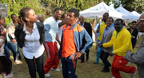 Kenenisa's wife Danawit Gebregziabher at Garden party with Haile Gebreselassie