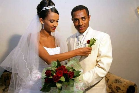 Danawit Gebregziabher and Kenenisa Bekele on their wedding day