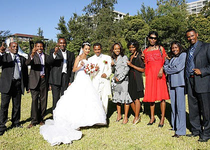 Friends and relatives at Kenenisa Bekele's wedding