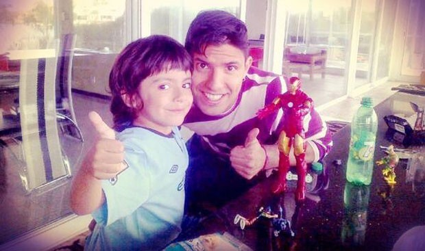 Aguero with his son Benjamin Aguero