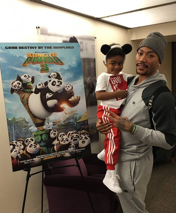 D Rose Watched Kung Fu Panda with His Son PJ