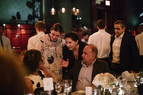 Len and Emily Blavatnik with Marie-Agnes Gillot, Marina Abramovic and Alex Poots