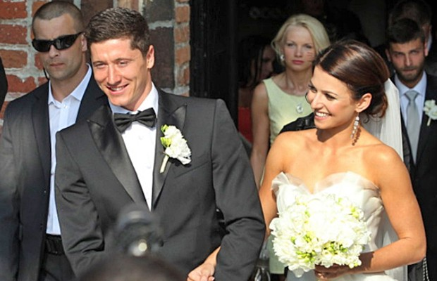 Robert Lewandowski with Anna on their wedding