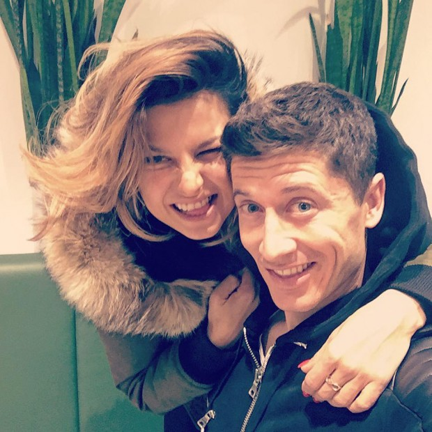 Robert Lewandowski with his wife Anna poses for a selfie
