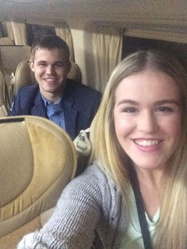 Carlsen with his sister Ellen Carlsen