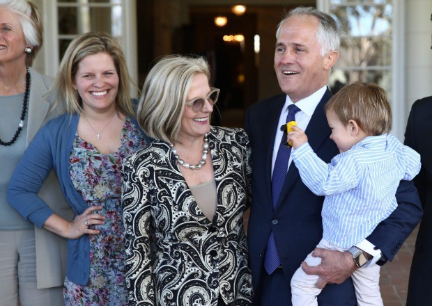 Malcom Turnbull at Government House with his daughter Daisy, wife Lucy and grandson Jack