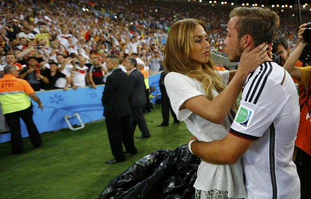 Mario Götze with his girlfriend after Germany wins over Argentian in WC