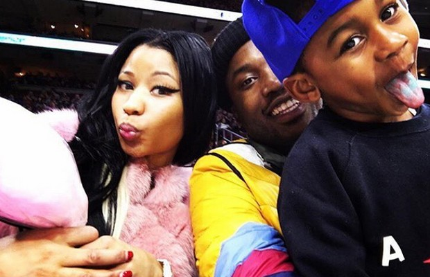 Meek with his son Murad and Nicki