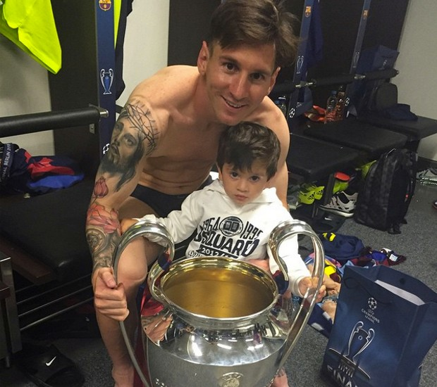 Messi with his son