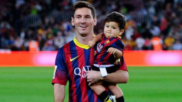 Lionel Messi with son Thiago