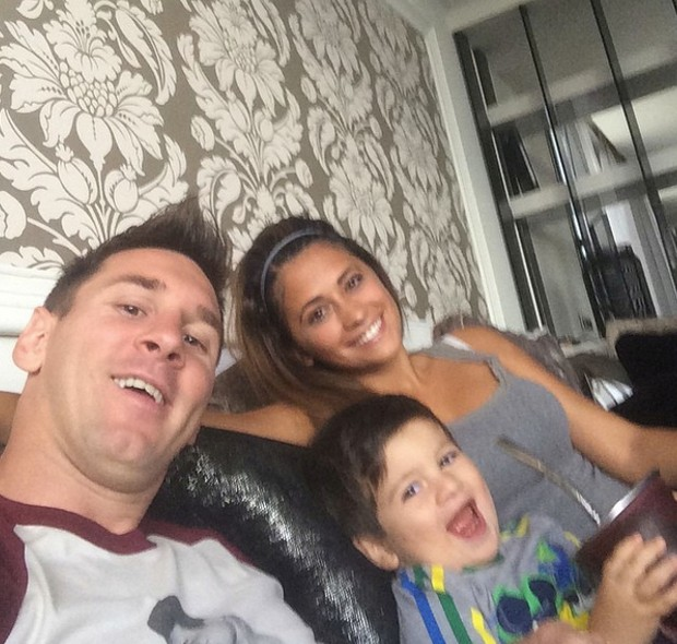 Selfie with his wife and son