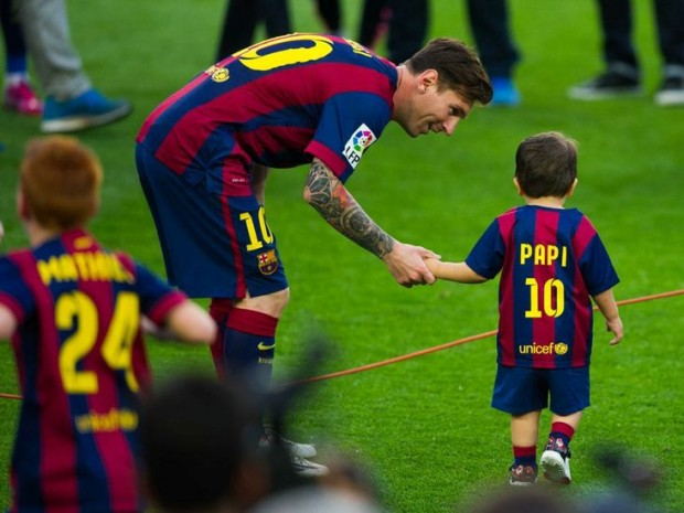 Messi with his elder son Thiago