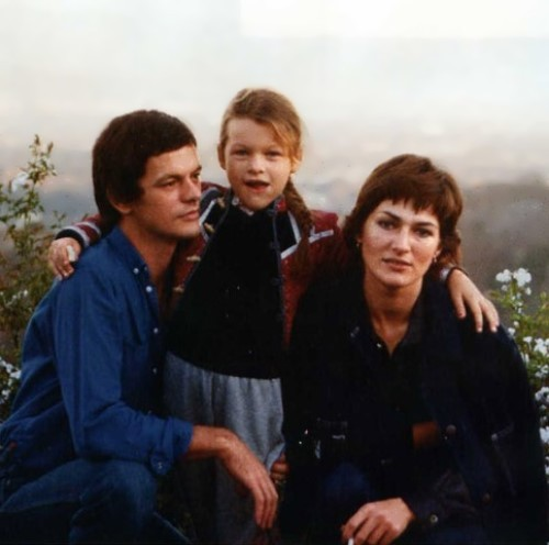 Milla Jovovich with her father Bogdan Jovovich and mother Galina