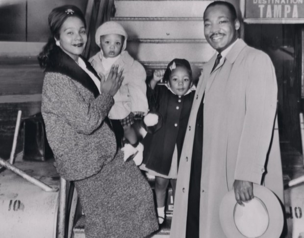 King with his family
