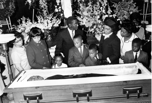 Family Members of King at His Death Casket