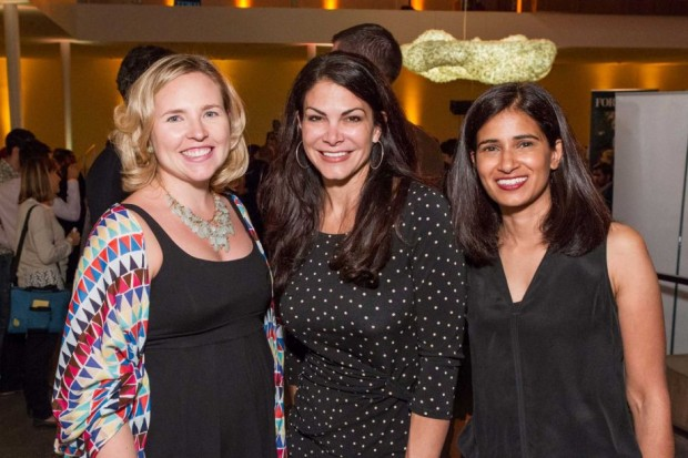 Nathan's wife Elizabeth Blecharczyk with Belinda Johnson and Varsha Rao at the 2014 FORTUNE 40 Under 40 release
