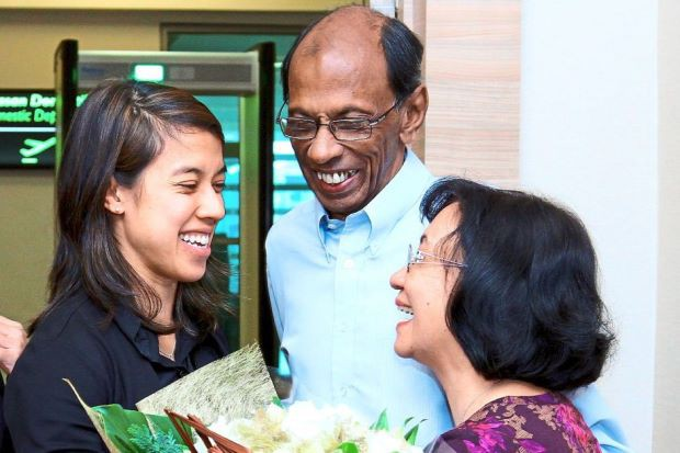 Nicol David with her parents  Desmond and Ann Marie