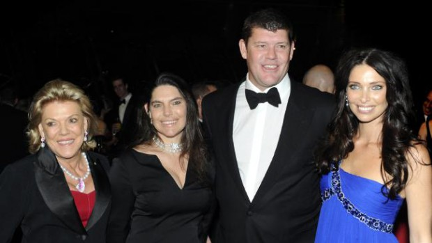 James Packer with his mom Ros, sister Gretel and former spouse Erica