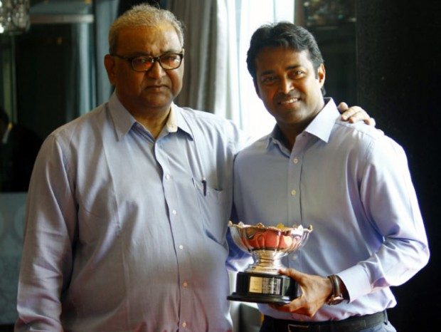 Indian Tennis star Leander Paes with his dad