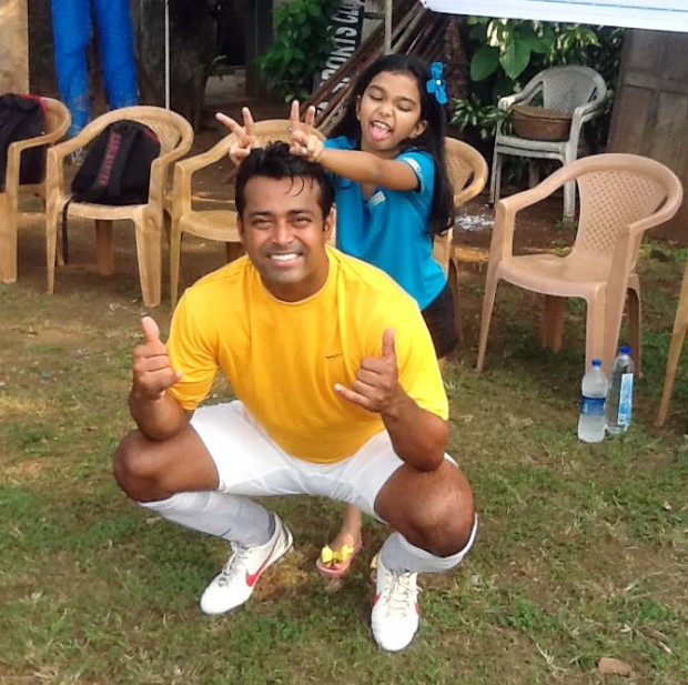 Aiyana Paes posing with her dad Leander Paes